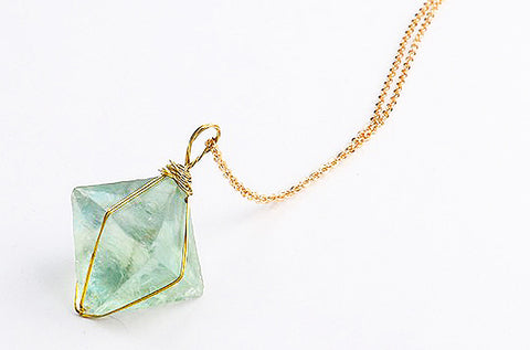Octahedron Green Fluorite Necklace