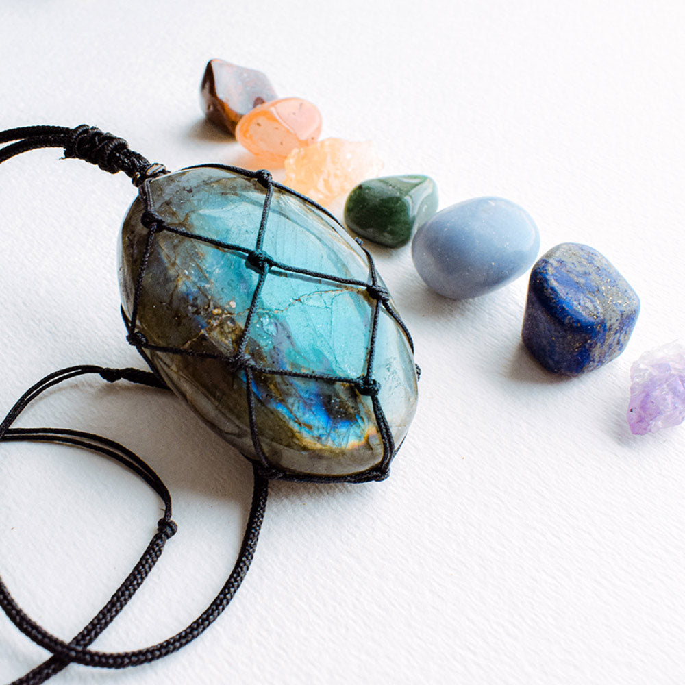 Wrapped Labradorite Stone Necklace - Dragons Heart Crystal Pendant