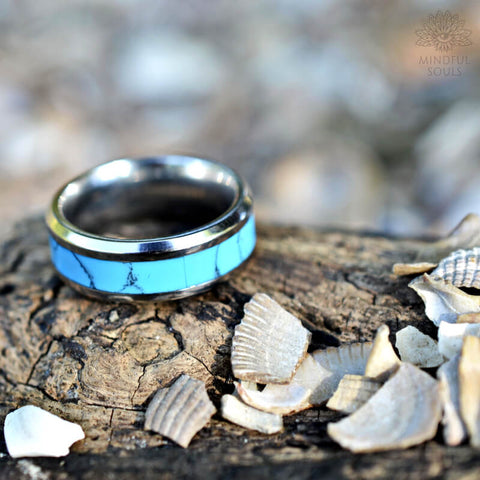 Blue Turquoise Tungsten Ring