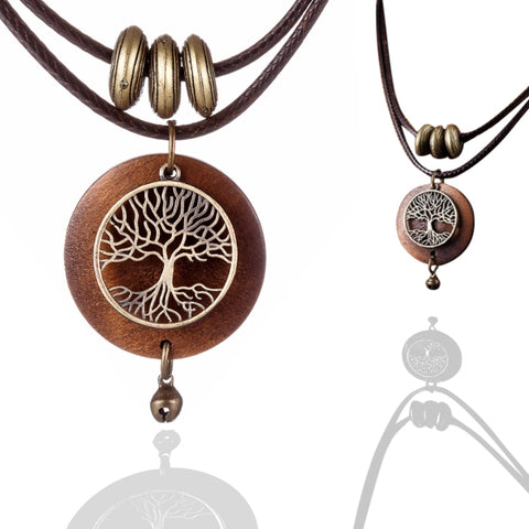 Wooden Tree of Life Necklace