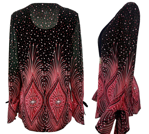 Diamond Flare Sleeve Women's Blouse