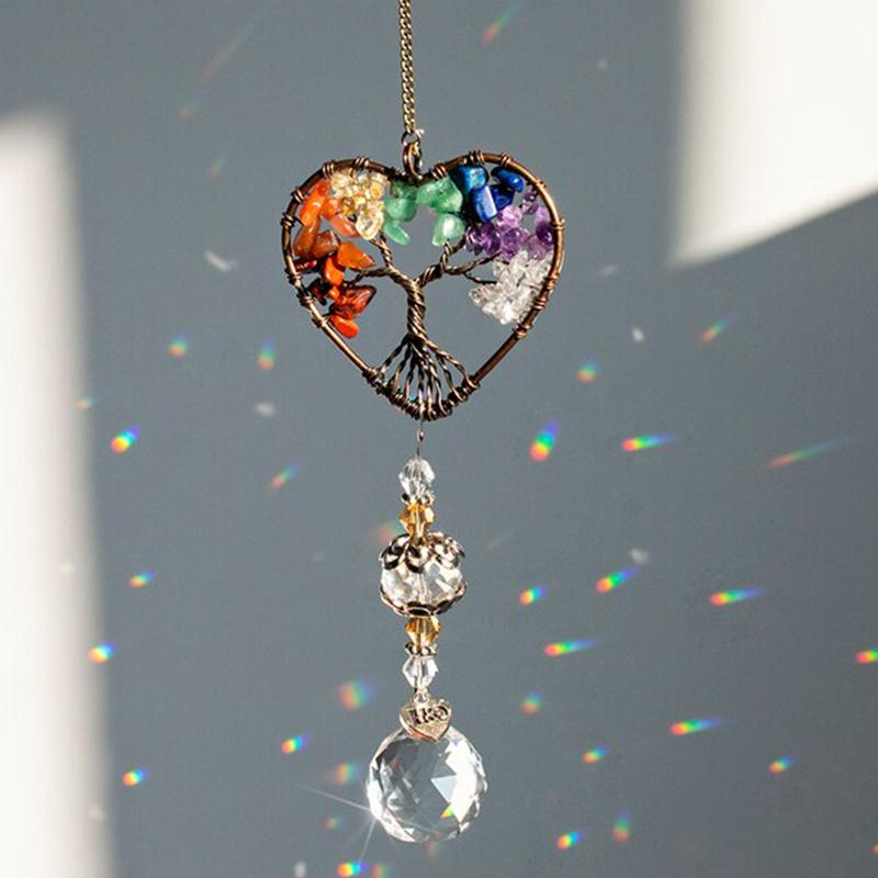 Rainbow Crystal Glass Wind Chime - Home Decoration