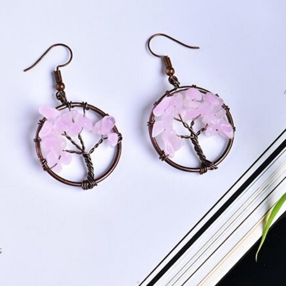 Tree of Life Wire Crystal Earrings