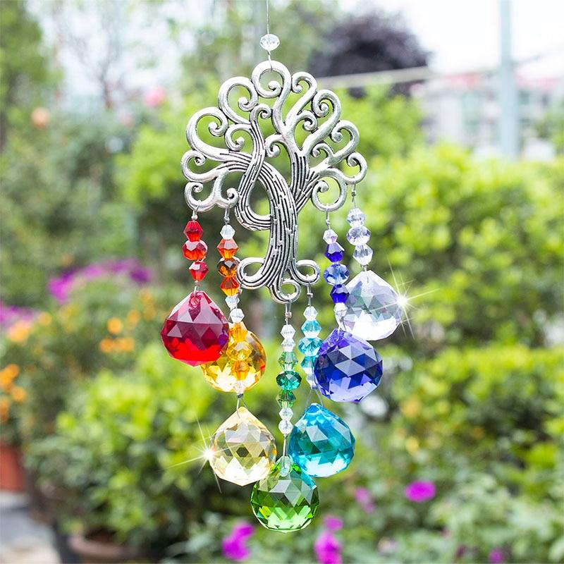 Crystal Glass Tree of Life Wind Chime - Home Decoration