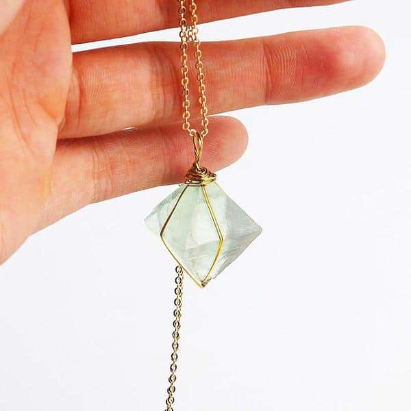Fluorite Necklace | Green Octahedron Pendant
