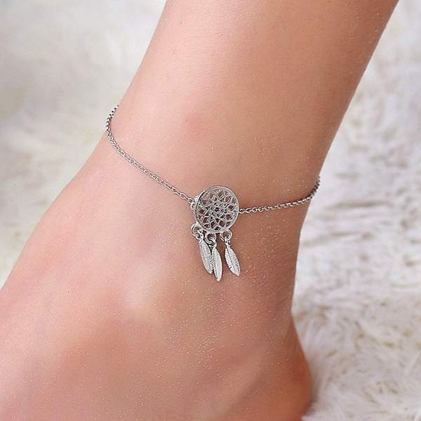 Silver Dream Catcher Anklet