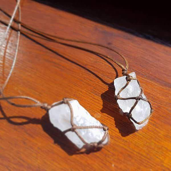 Wrapped Raw Clear Quartz Necklace
