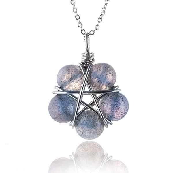 Moonstone Pentagram Necklace