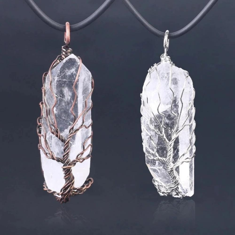 Wire Wrapped Clear Quartz Crystal Necklace