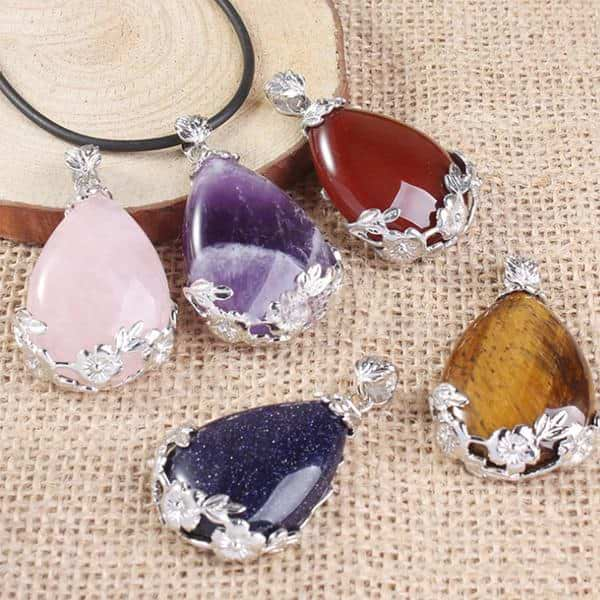 Flower Crystal Teardrop Necklace