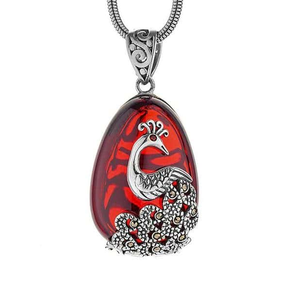 Red Garnet Peacock Necklace