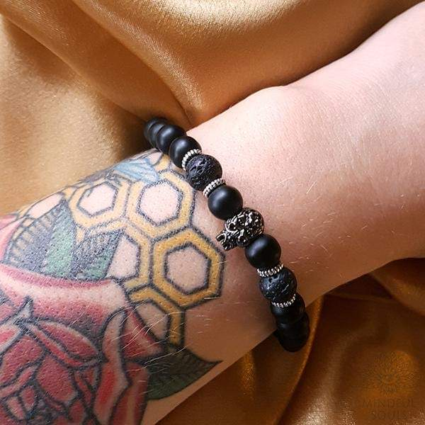 Black Agate Lion Bracelet