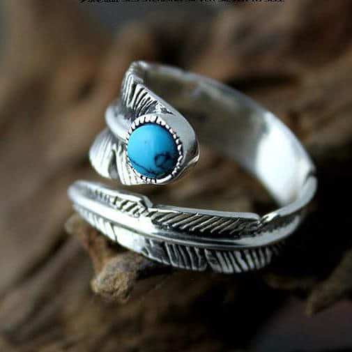 Freedom Feather Turquoise Ring