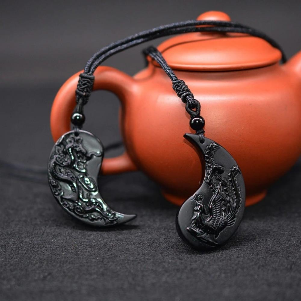 Obsidian Ying Yang Couple Matching Necklaces
