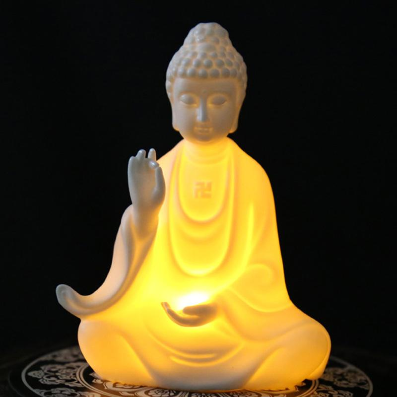 Buddha Statue Figurine Lamp - Home Decor