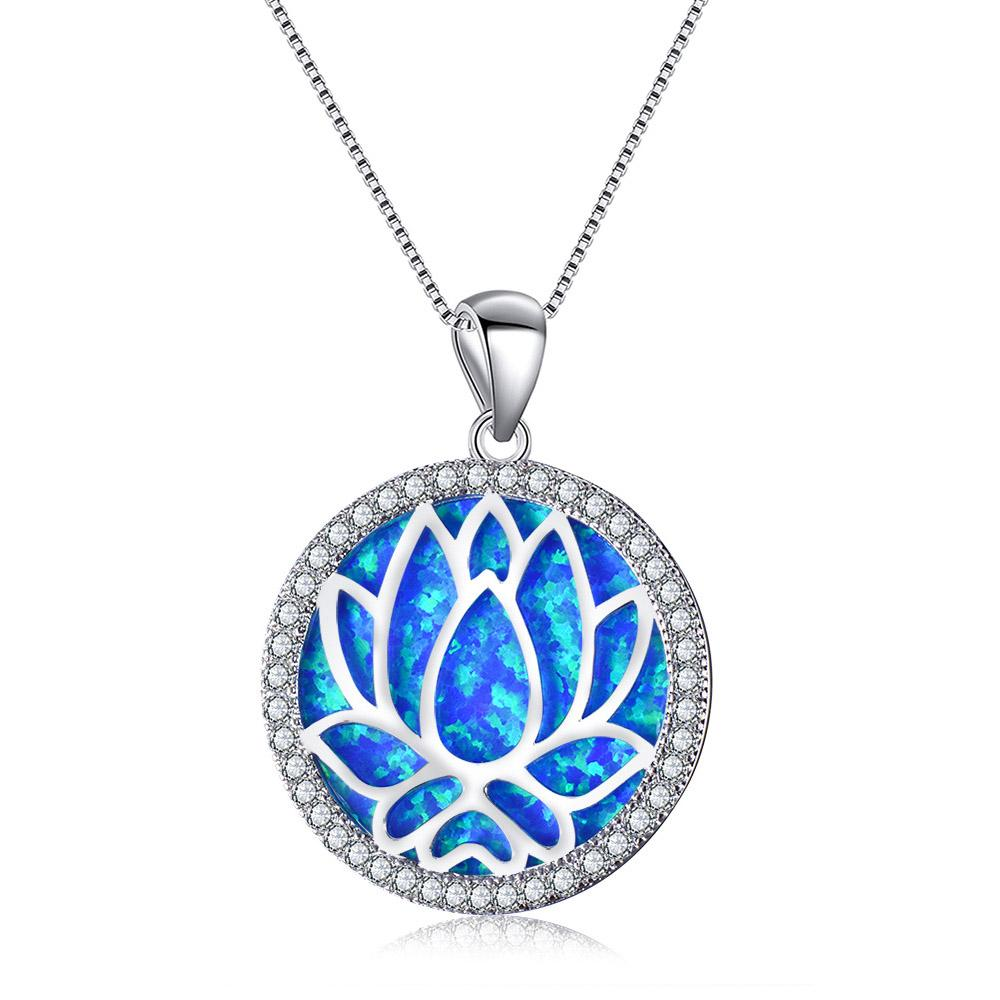 Blue Opal Lotus Necklace