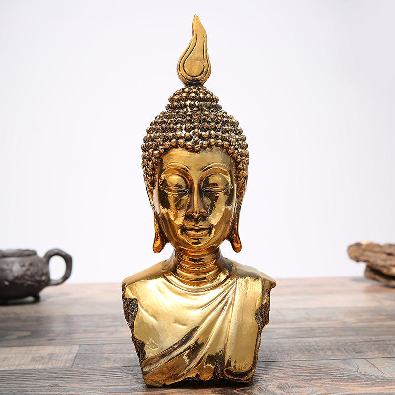 Golden Buddha Head Statue Figurine - Home Decor