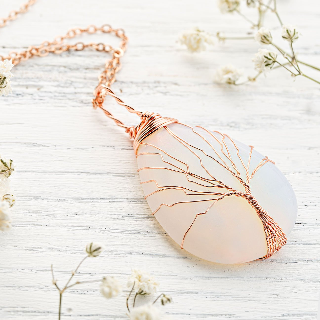 Tree Of Life Necklace | Handmade Opalite Pendant