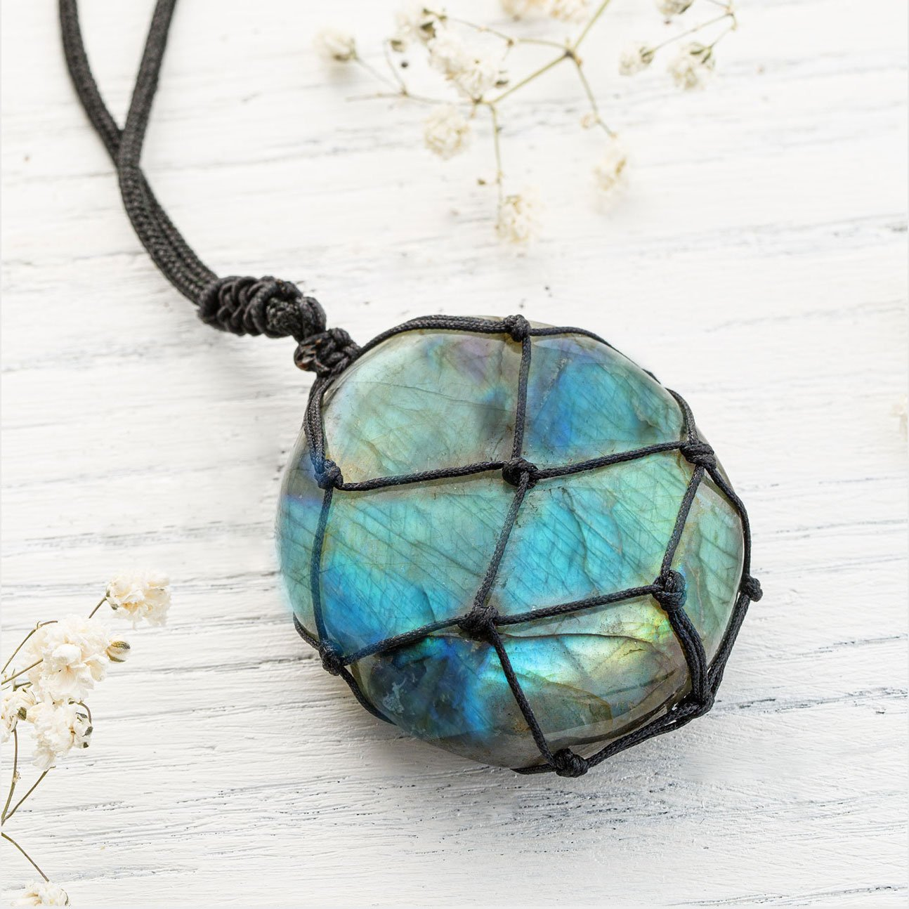 Wrapped Stone Labradorite Necklace - Dragons Heart Crystal Pendant
