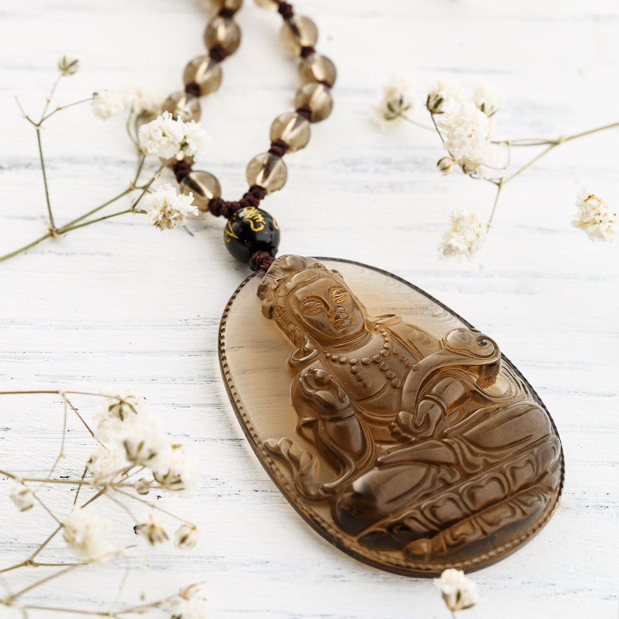 Natural Ice Obsidian Guanyin Necklace