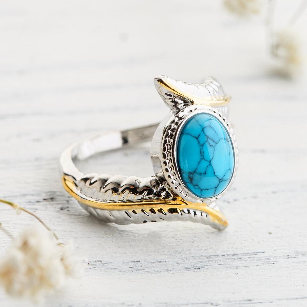 Wisdom Feather Turquoise Ring