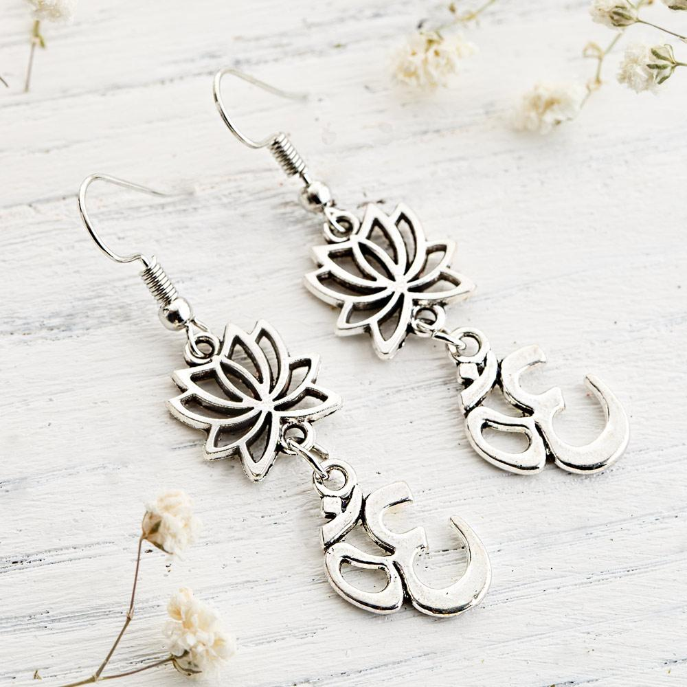 Lotus Flower Om Earrings