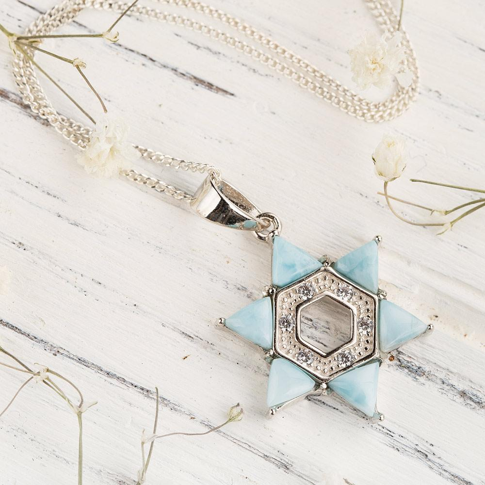 Shining Larimar Star Necklace