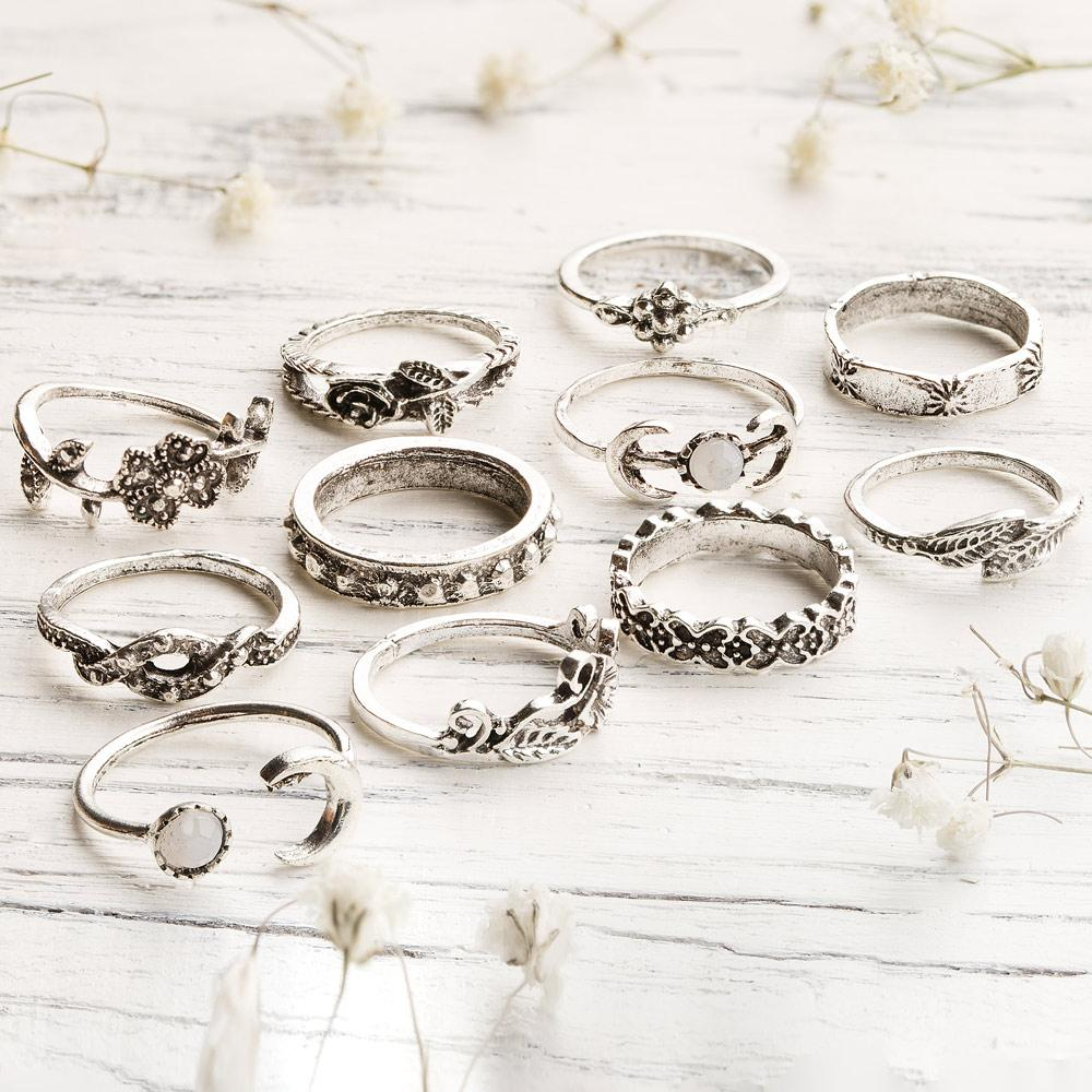 Moon Flowers Ring Set