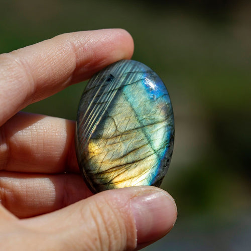 Natural Labradorite Palm Stone