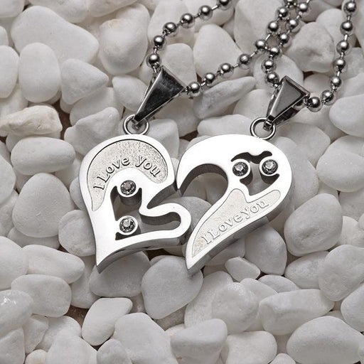 Stainless Steel Black And White Love Necklace For Couples