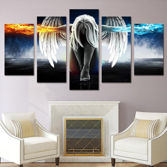 5 Piece Angel Wings Fire and Ice Canvas