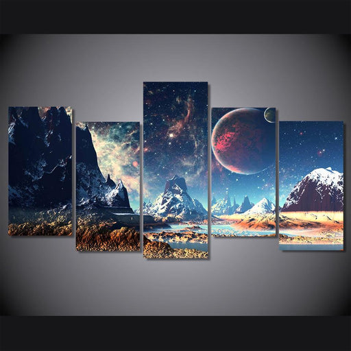 5 Piece Galaxy and Mountains Canvas Painting