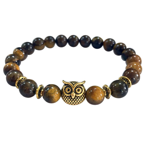 Volcanic Owl Gold Beaded Bracelet