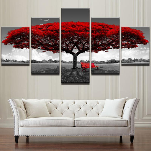 5 Piece Red Tree Scenery Modular Canvas