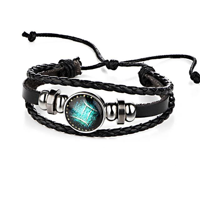 12 Zodiac Adjustable Leather Bracelet
