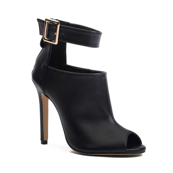 DONNA - Cutout Design Open Toe Ankle Boots