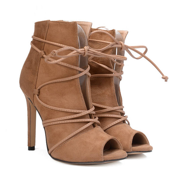 ADRIANA - Cross-tied Open Toe Ankle Boots
