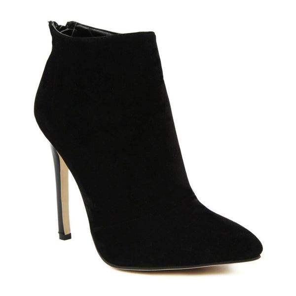 CITY WALK - Black Suede Stiletto Ankle Boots