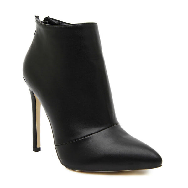 CITY WALK - PU Leather Stiletto Ankle Boots
