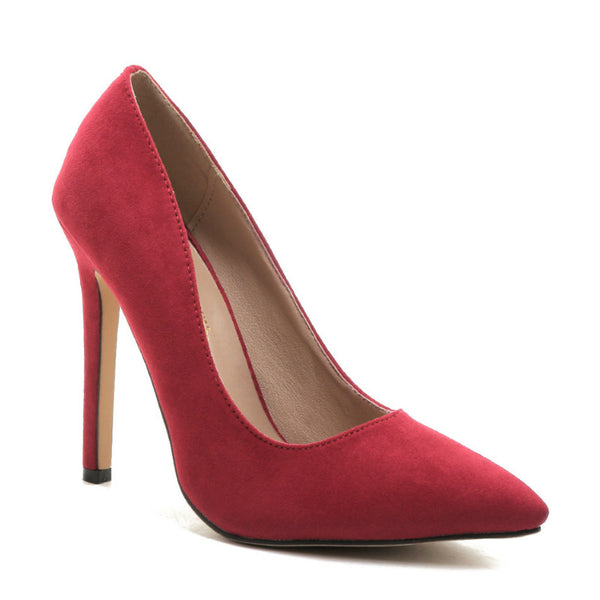 BETTY - Flocked Suede Pointed Court Heels