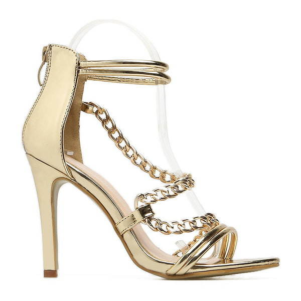 EMPRESS - Gold Patent Chain Design Heels