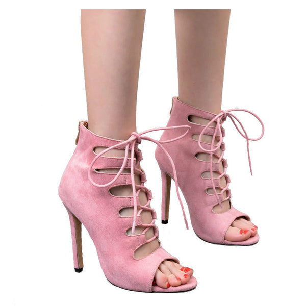 DAISY - Cutout Design Pink Ankle Boots