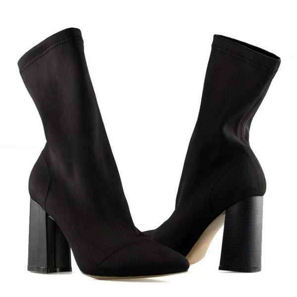 COMFY - Stretch Lycra Square Heel Ankle Boots