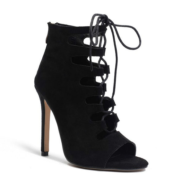 DAISY - Cutout Design Black Ankle Boot
