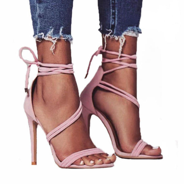 CHARM - Cross Strapped Ankle Lace Heels