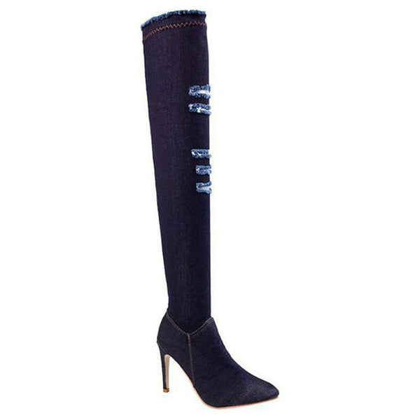 <p><b>SEXY CASUAL</b><br><p>Denim Over Knee Boots</p>