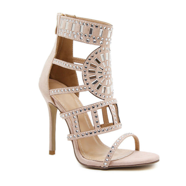 SUPER DIVA XL - Studded Strap Gladiator Heels