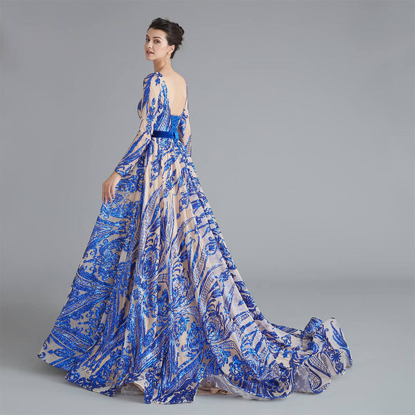 "<p style=""font-size: 18px;""><b>ALIYA</b></p><p style=""color:grey"">SEQUINNED BALL GOWN-ELECTRIC BLUE</p>"