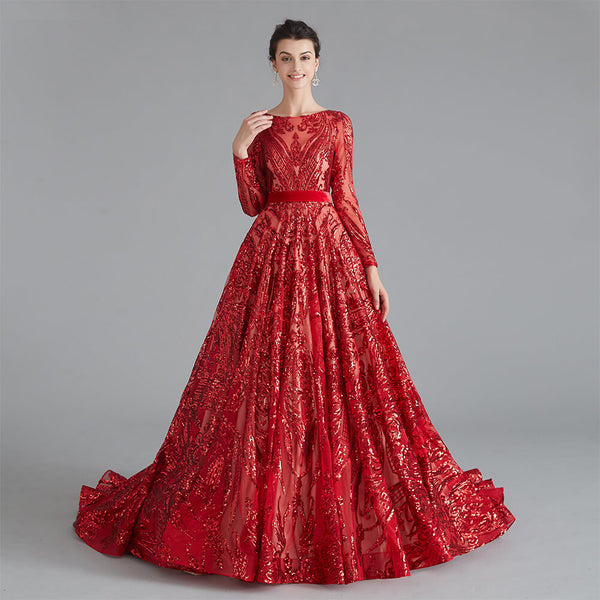 "<p style=""font-size: 18px;""><b>ALIYA</b></p><p style=""color:grey"">SEQUINNED BALL GOWN-RED</p>"