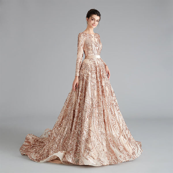 "<p style=""font-size: 18px;""><b>ALIYA</b></p><p style=""color:grey"">SEQUINNED BALL GOWN-ROSE GOLD</p>"